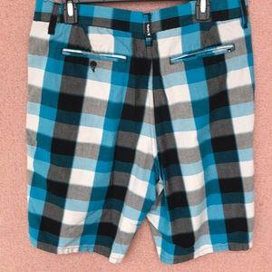 Hurley Shorts - Hurley plaid teal gray cargo board shorts